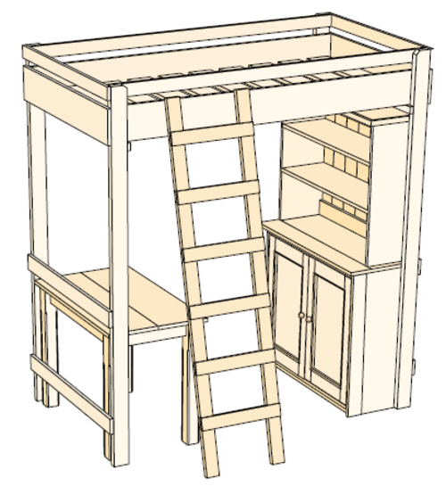 plans for loft bed with desk free
