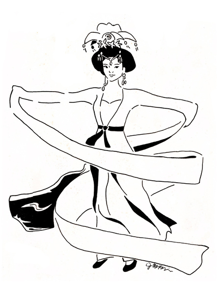 Chinese Water Sleeve Dancer Line Drawing Art Print by