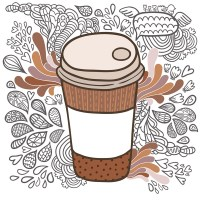 Doodle coffee cup Art Print by Kostolom3000 | Society6