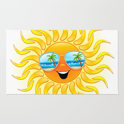 Summer Sun Cartoon with Sunglasses - RUG / 2' X 3' - $28.00