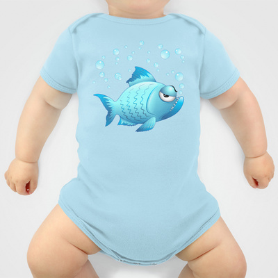 Grumpy Fish Cartoon - Onesie - $20.00