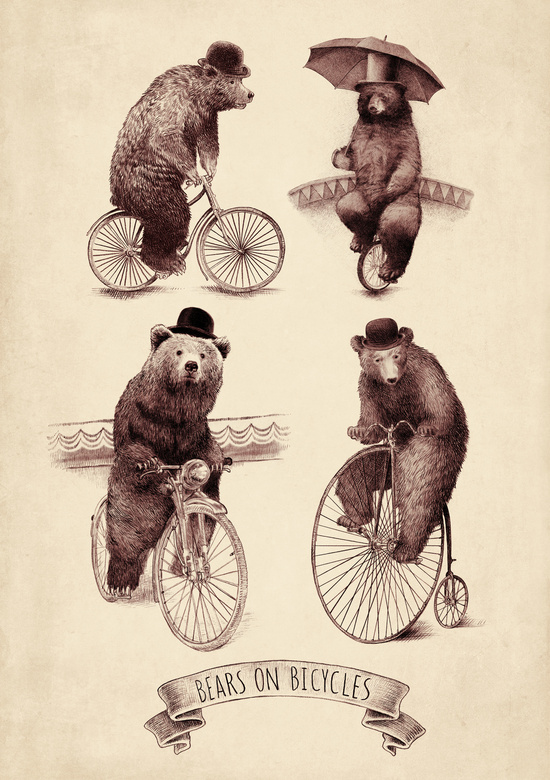 Bears on Bicycles Art Print