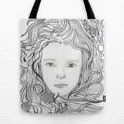 girl - curly doodle hair tote bag