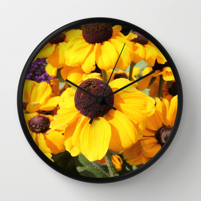 My first Sale on Society6: Bright yellow Black-Eyed Susans Wall Clock (1/6)