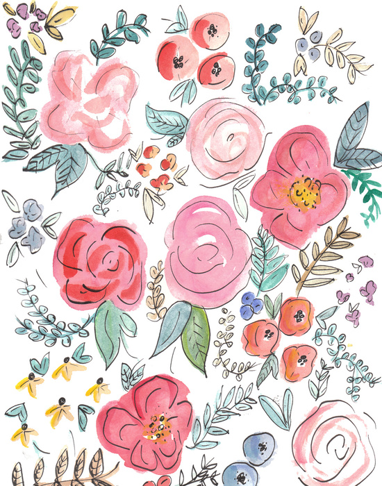 Watercolor Floral Print Art Print