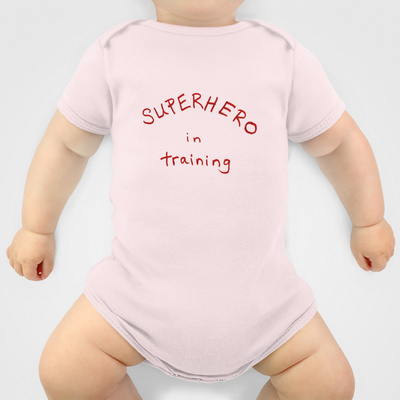 Superhero in training pink onesie