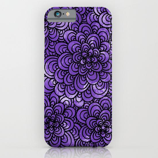Purple zentangle iphone case
