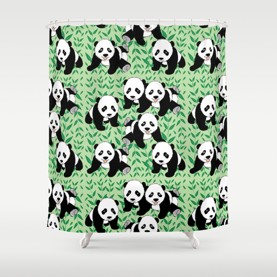 Cute black and white panda bear cubs as a pattern with bamboos and a green background. panda bear pattern , black and white bears , bear cubs , cute bears , baby bears , panda bears , panda bear graphic , bamboo , cute pandas , nursery , for kids ,