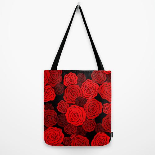 red rose pattern tote bag
