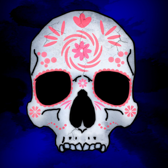 pink decorated sugar skull art print