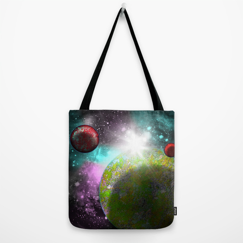 galaxy planets tote bag