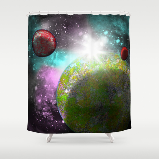 galaxy planets shower curtain