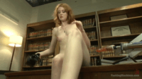 Hot Librarian Enjoys Toy Sex On Table