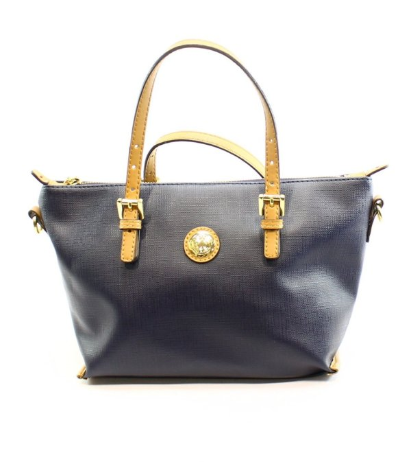 Tommy Hilfiger Navy Coated Canvas Women' Small Satchel