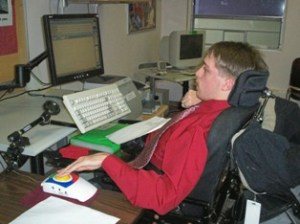 End-user with a motor disability using a PC and assistive technology