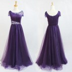 Short Sleeves Prom Dress Purple Long Beaded Boat Neckline