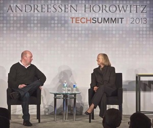Marc Andreessen and Meg Whitman at a16z Tech Summit 2013