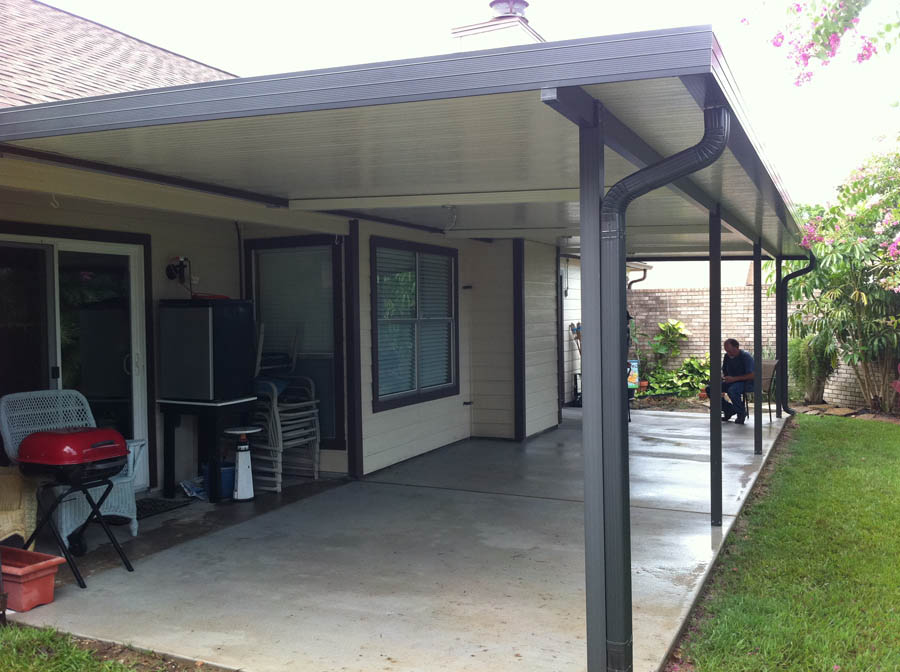Aluminum Patio Cover with Fan Beams in Clear Lake  A