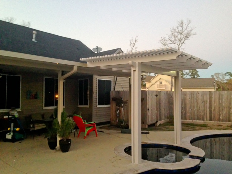 Aluminum Pergola aka Ultra Lattice Extended off Insulated Roof in Baytown TX  A1