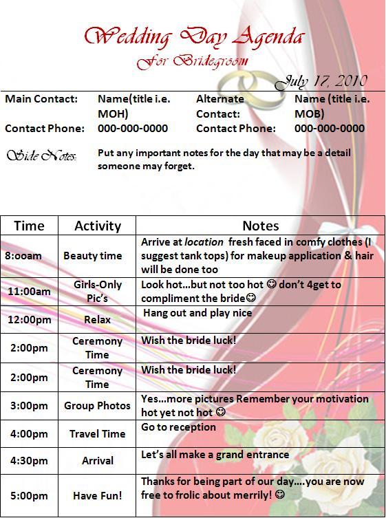 Wedding Day Agenda Template Graphics And Templates