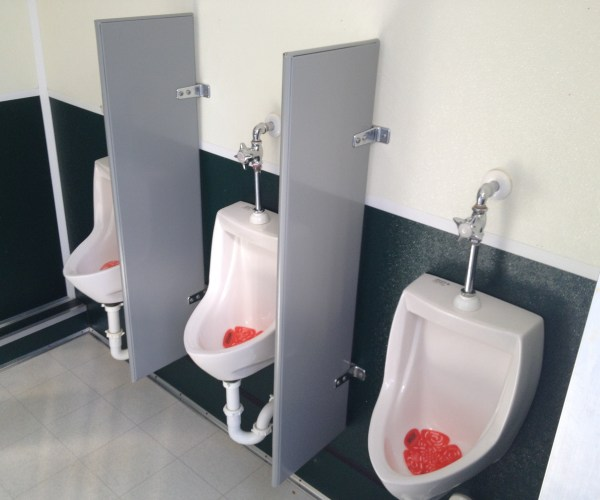 Large Restroom Trailer Rentals DE - Inside urinals