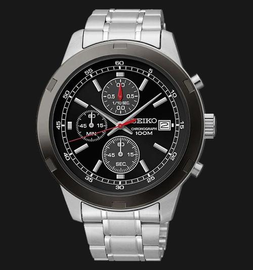 Men's Watches  Latest Seiko Chronograph Black Dial Gents