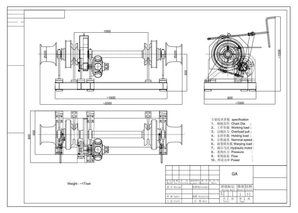 Marine Hydraulic Anchor Windlass With Double Gypsy And