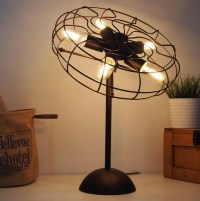 Cool Industrial retro style fan shape bedside table lamp ...