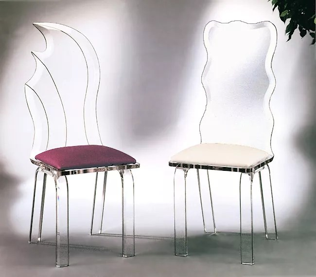 Colored Acrylic Lucite Plastic Dining Chair High Back