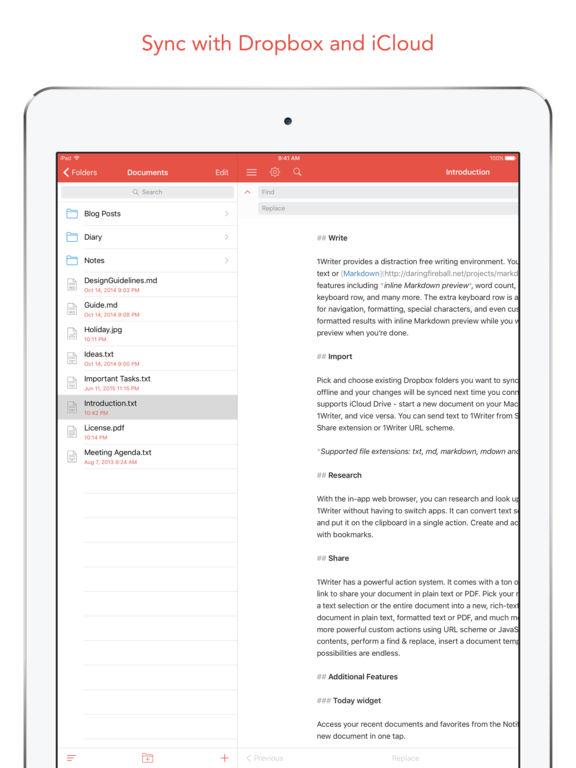 1Writer - Note taking, writing app Screenshot