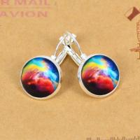 Rainbow-colored Nebula Pictures Silver Plated Earrings ...
