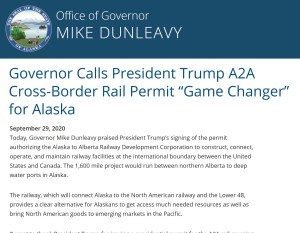 A2A Rail and State of Alaska Governor Dunleavy Announcement about Presidential Permit