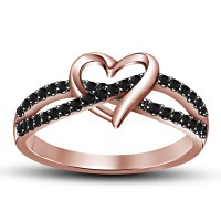 Love Knot Heart CZ 925 Sterling Silver 14K Rose Gold ...