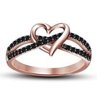 Love Knot Heart CZ 925 Sterling Silver 14K Rose Gold ...