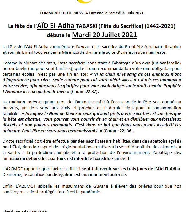 Aïd-el-Adha TABASKI Mardi 20 Juillet