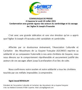 Condamnation du cambriolage de L'église St Joseph d'Iracoubo
