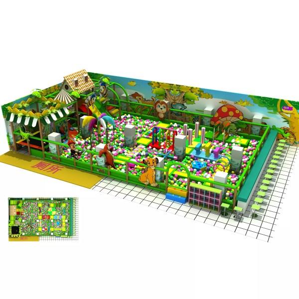 Jungle Theme Kids Soft Play Ball Pit With Trampoline & Slide China Manufacturer - Xiujiang