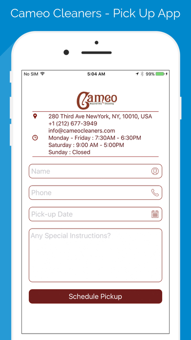 Cameo Cleaners  Pick Up App On The App Store