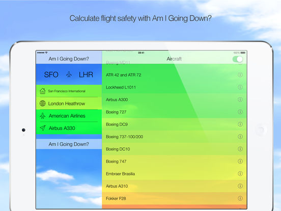 Am I Going Down? Fear of Flying App Screenshot