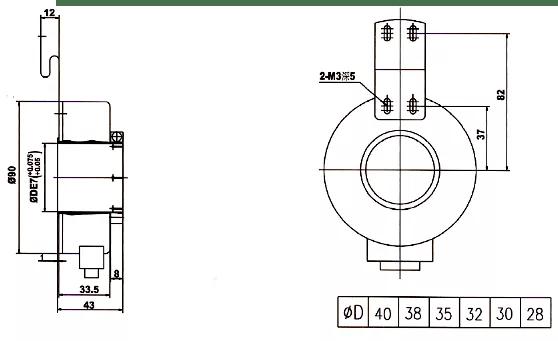 China Main dimensions 90mm Encoder,40mm Hollow Shaft