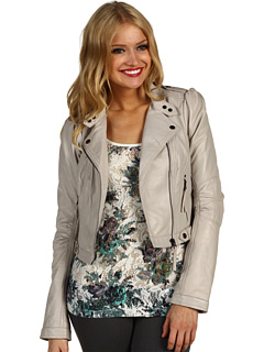 cropped leather jacket, women, cream leather