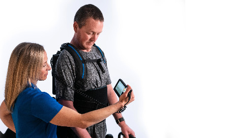 EksoNR, the latest exoskeleton from Ekso Bionics, features EksoView, a new touchscreen controller that allows therapists to intuitively adapt assistance to challenge patients using real-time feedback. (Photo courtesy of Ekso Bionics Holdings Inc)
