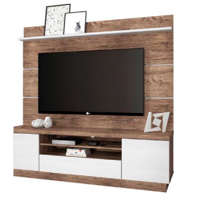 Mueble para Tv hasta 65 con Luz LED TexasLib MaderaBlanco