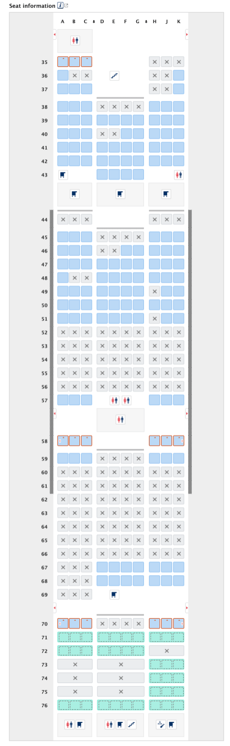 ANA Seat Selection NH184 Sept 1, 2020