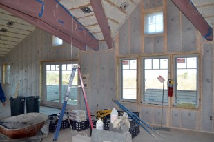 """Open cell spray foam at vaulted ceilings and 1"""" spray foam and cellulose insulation at exterior walls."""