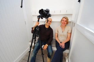 Dan Cutrona & Alison in the exterior shower to frame a shot of the half bath... small spaces!