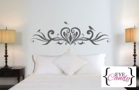 Wall Decals - Bespoke heart and birds Headboard for double ...