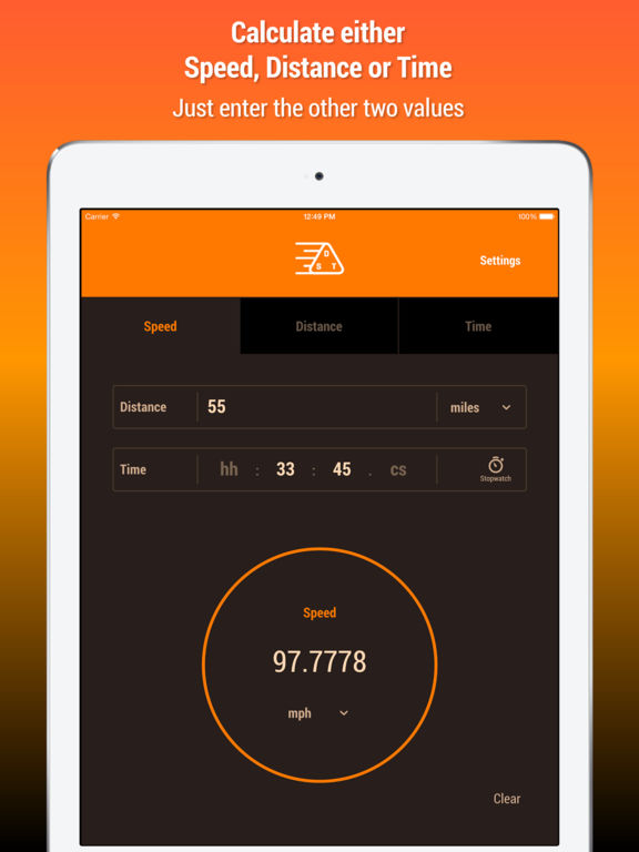 Speed Distance Time Calculator iPad