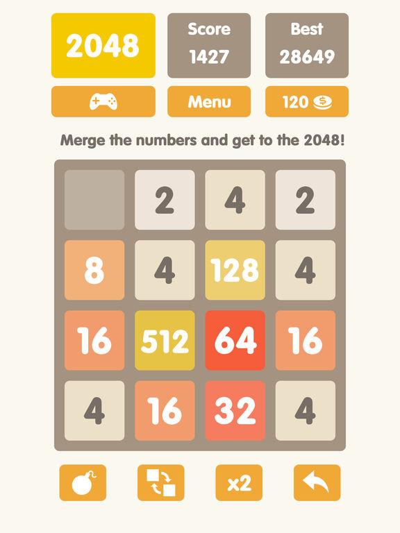 2048 number puzzle game undo math