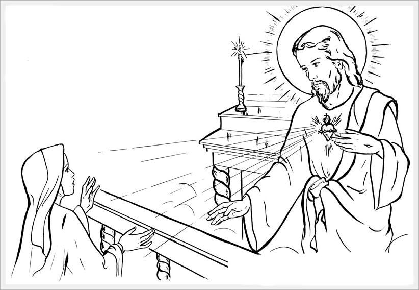 Sacred heart, Catholic and Coloring pages on Pinterest